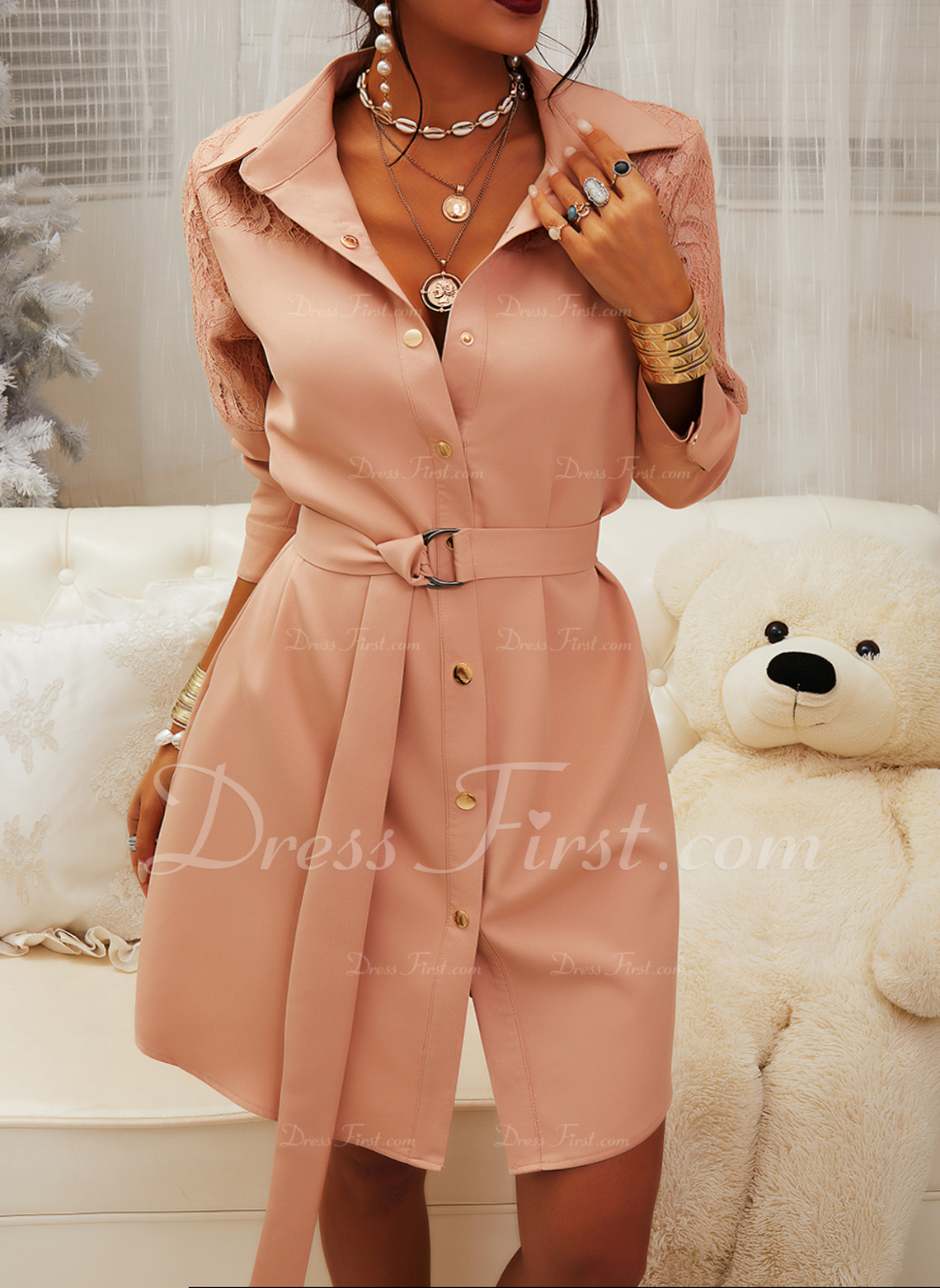 Lace Solid Sheath Long Sleeves Mini Little Black Casual Elegant Shirt Dresses