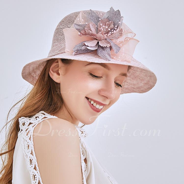 Señoras' Estilo clásico/Elegante Lino Sombreros Playa / Sol/Derby Kentucky Sombreros/Sombreros Tea Party