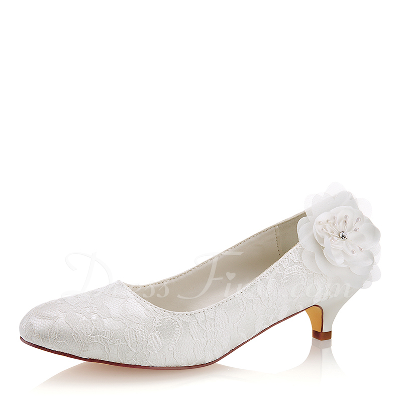 4aef8afddb Loading zoom. Loading. Color: Ivory. Women's Lace Silk Like Satin Kitten  Heel Closed Toe ...