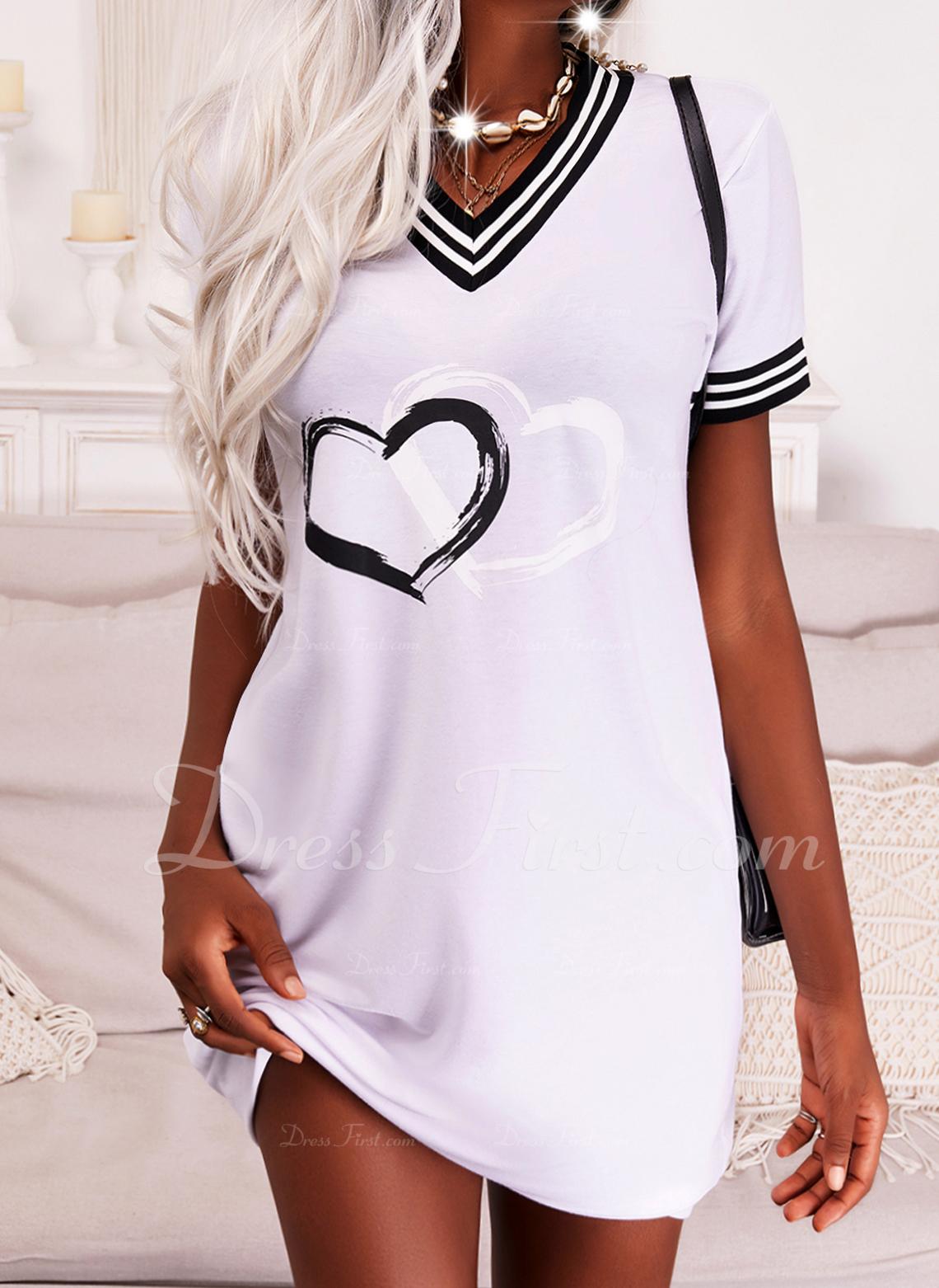 Print Stribe Hjerte Skiftekjoler Korte ærmer Mini Casual T-shirt Mode kjoler