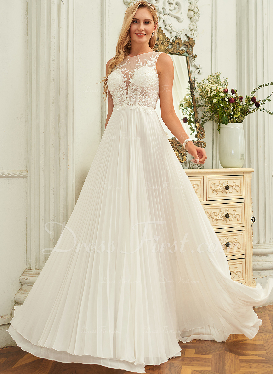 A-Line Scoop Neck Sweep Train Chiffon Lace Wedding Dress With Sequins Pleated