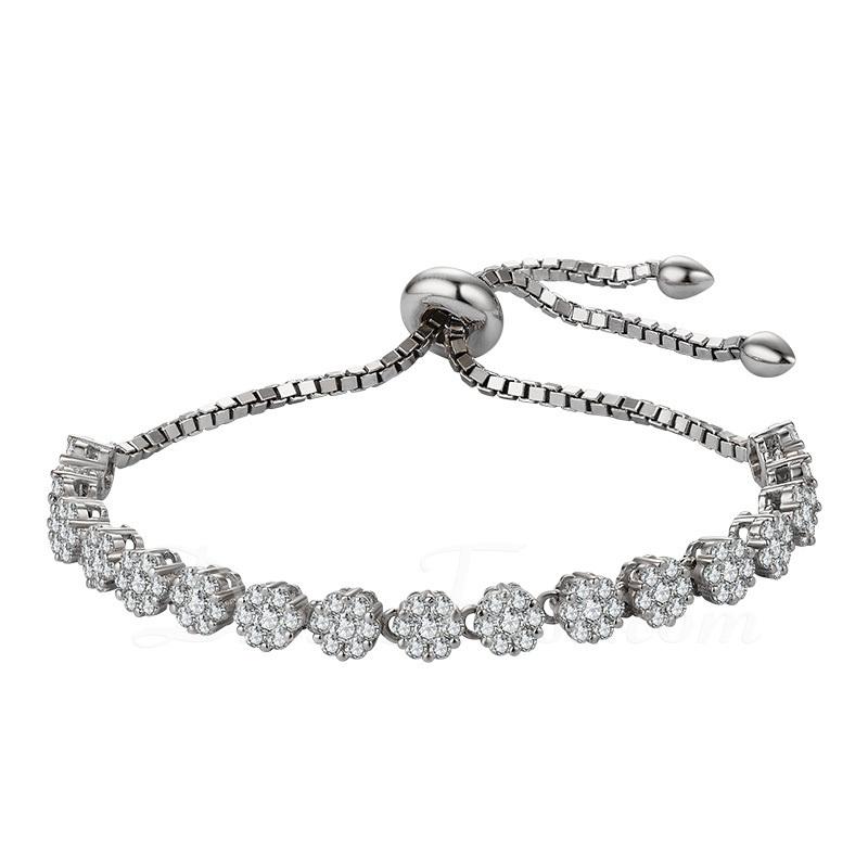 Antioxidante Cadena de enlace Bracelets de demoiselle .d'honneur Bracelets Bolo con Cubic zirconia -