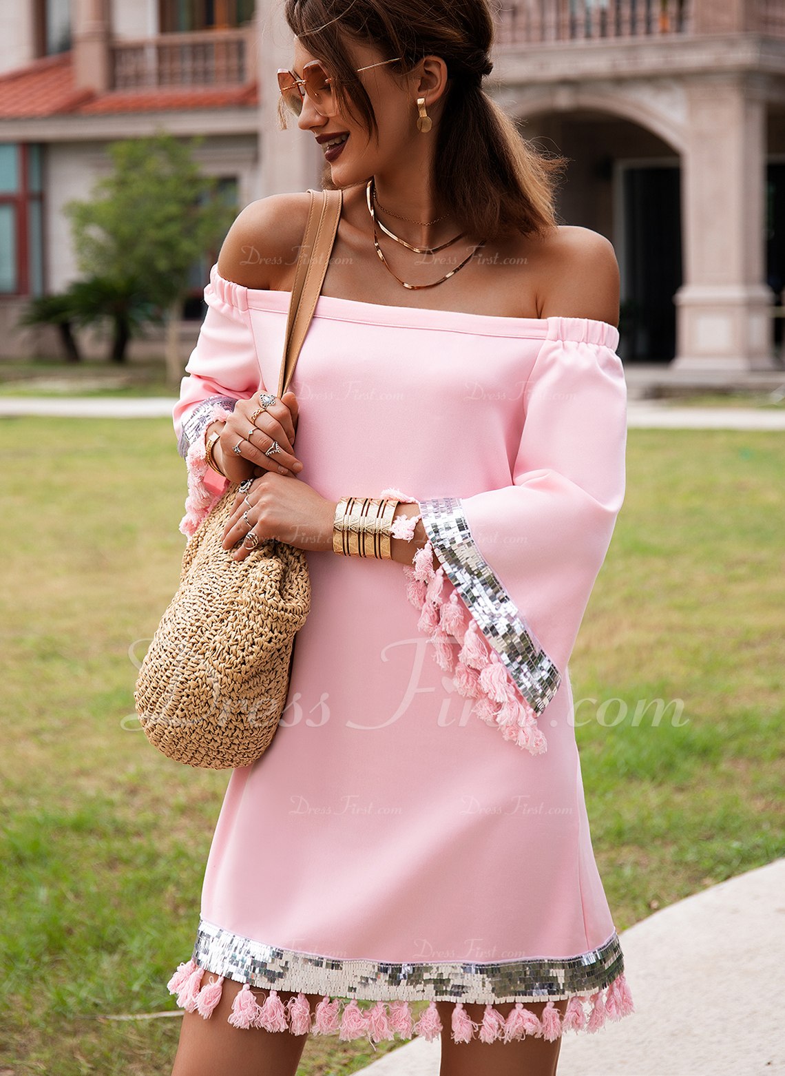 Solid Shift 3/4 Sleeves Mini Casual Vacation Tunic Dresses