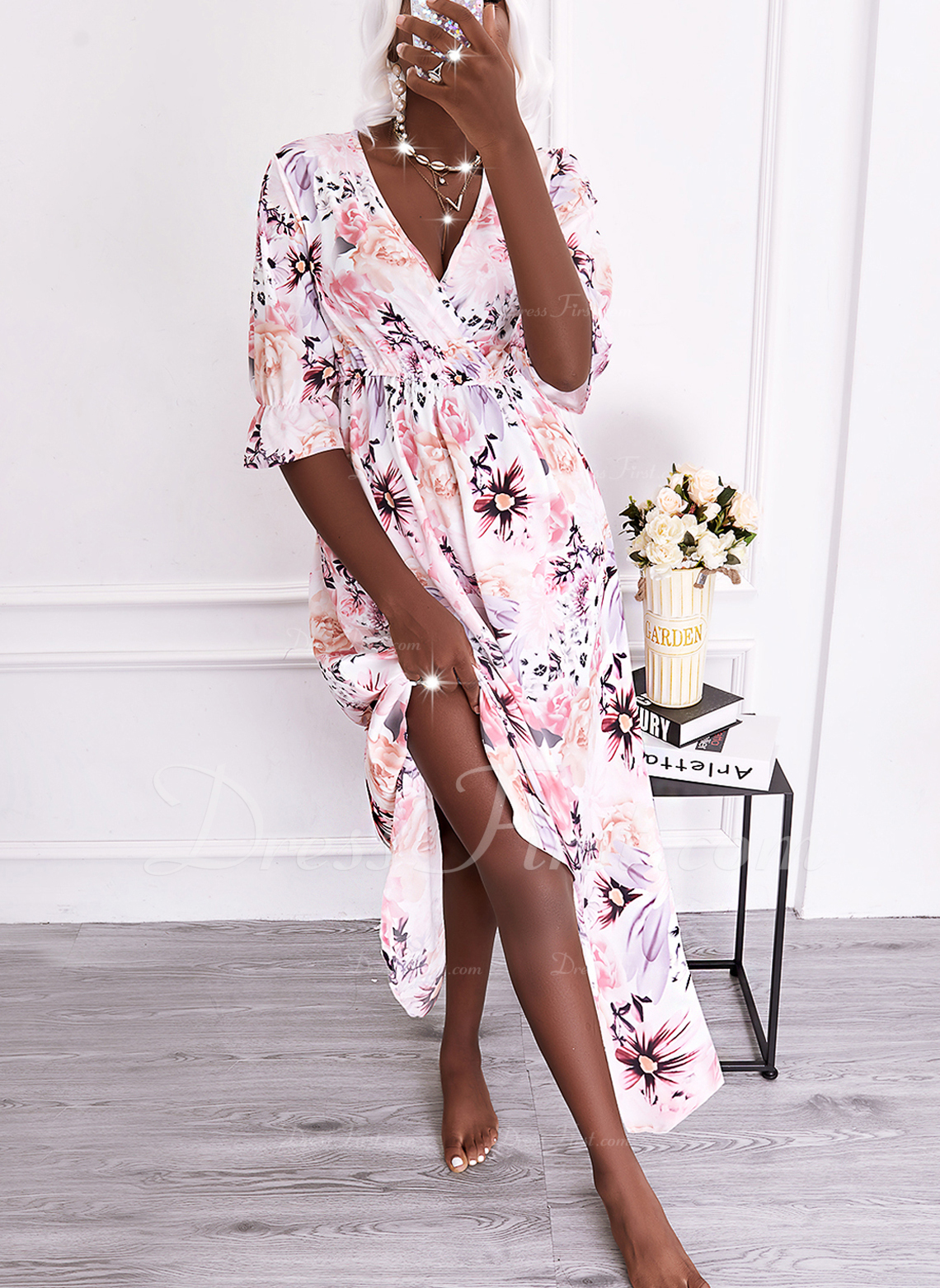 Floral Print A-line 1/2 Sleeves Maxi Casual Vacation Skater Dresses