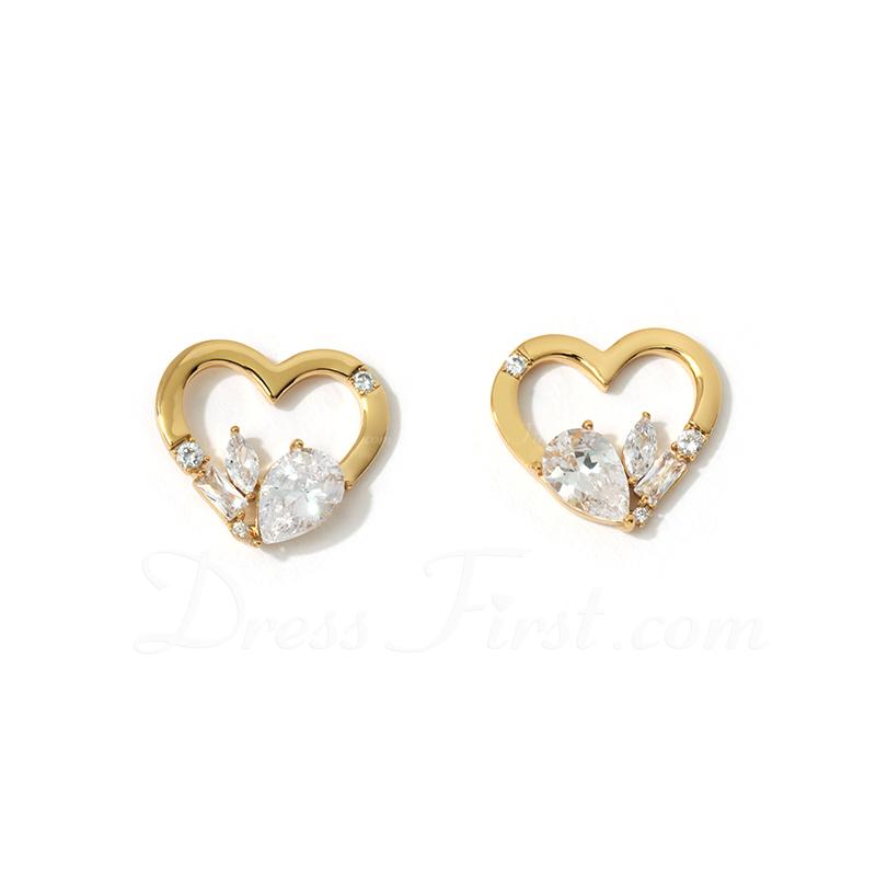 Señoras' En forma de corazón cobre/Cubic zirconia con Pera Cubic zirconia Pendientes Para Ella