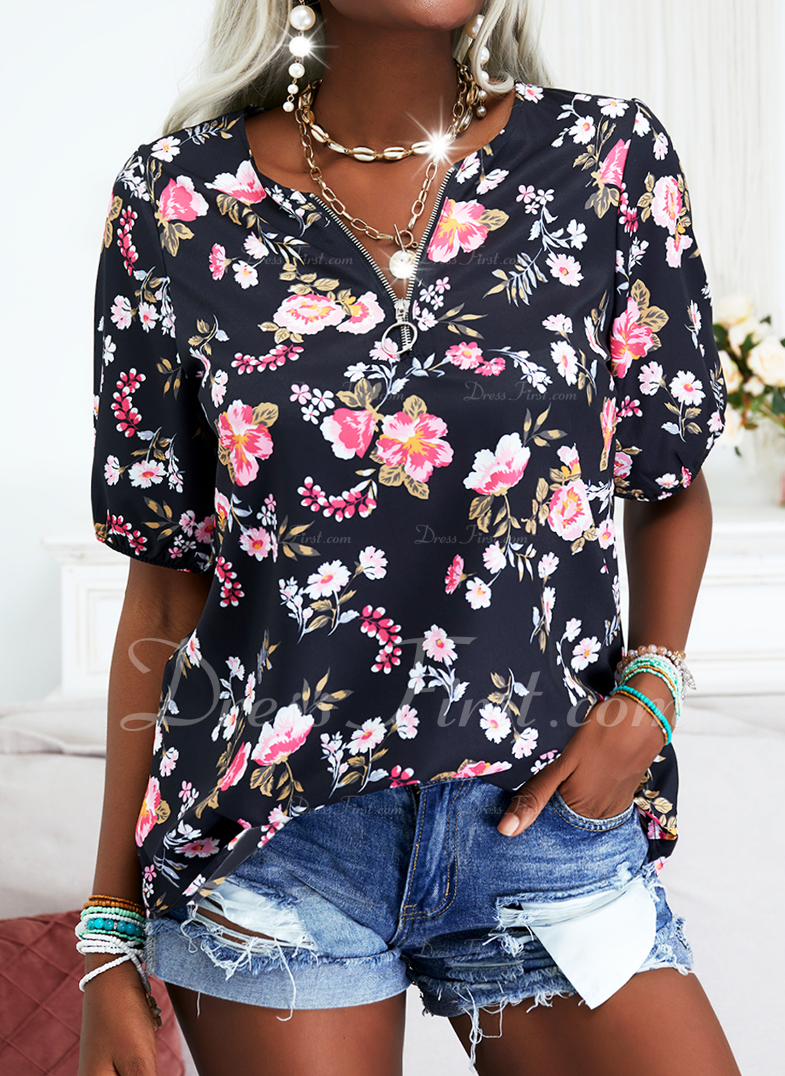 Floral Print V-Neck Short Sleeves Casual Blouses