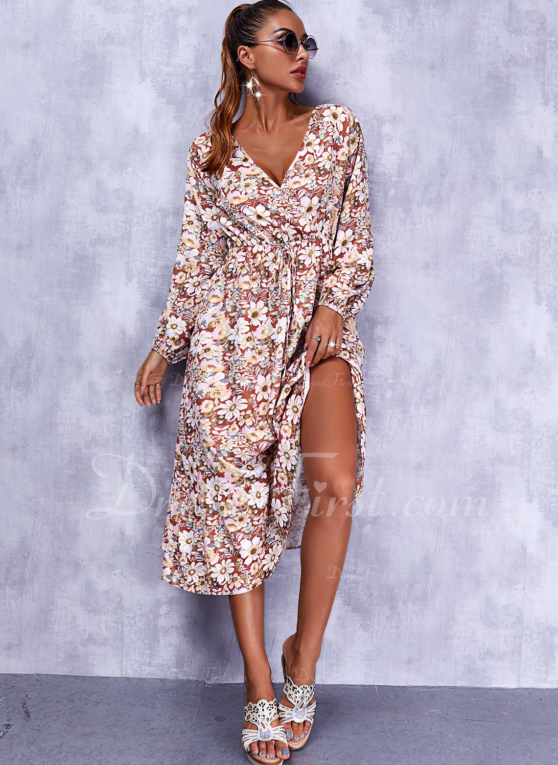 Blumen Druck A-Linien-Kleid Lange Ärmel Midi Lässige Kleidung Skater Modekleider