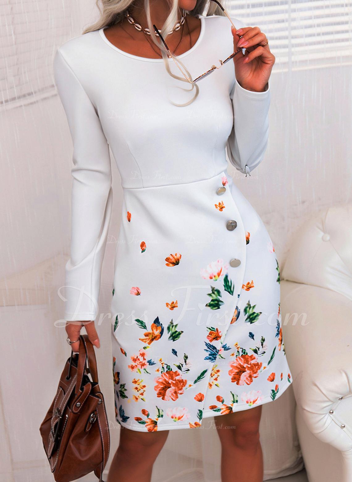 Blomster Print Bodycon Lange ærmer Midi Elegant Blyant Mode kjoler