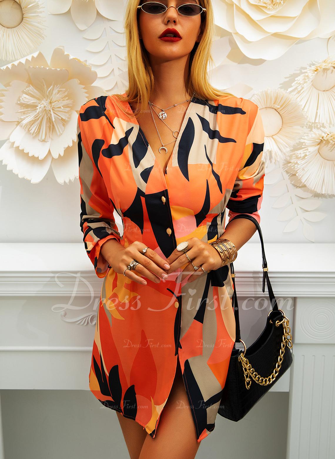 印刷 シースドレス 長袖 ミニ カジュアル ファッションドレス