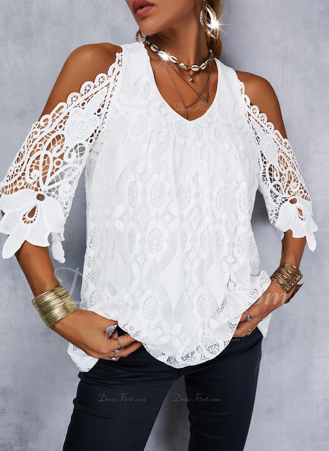 Solid Cold Shoulder 1/2 Sleeves Elegant Blouses