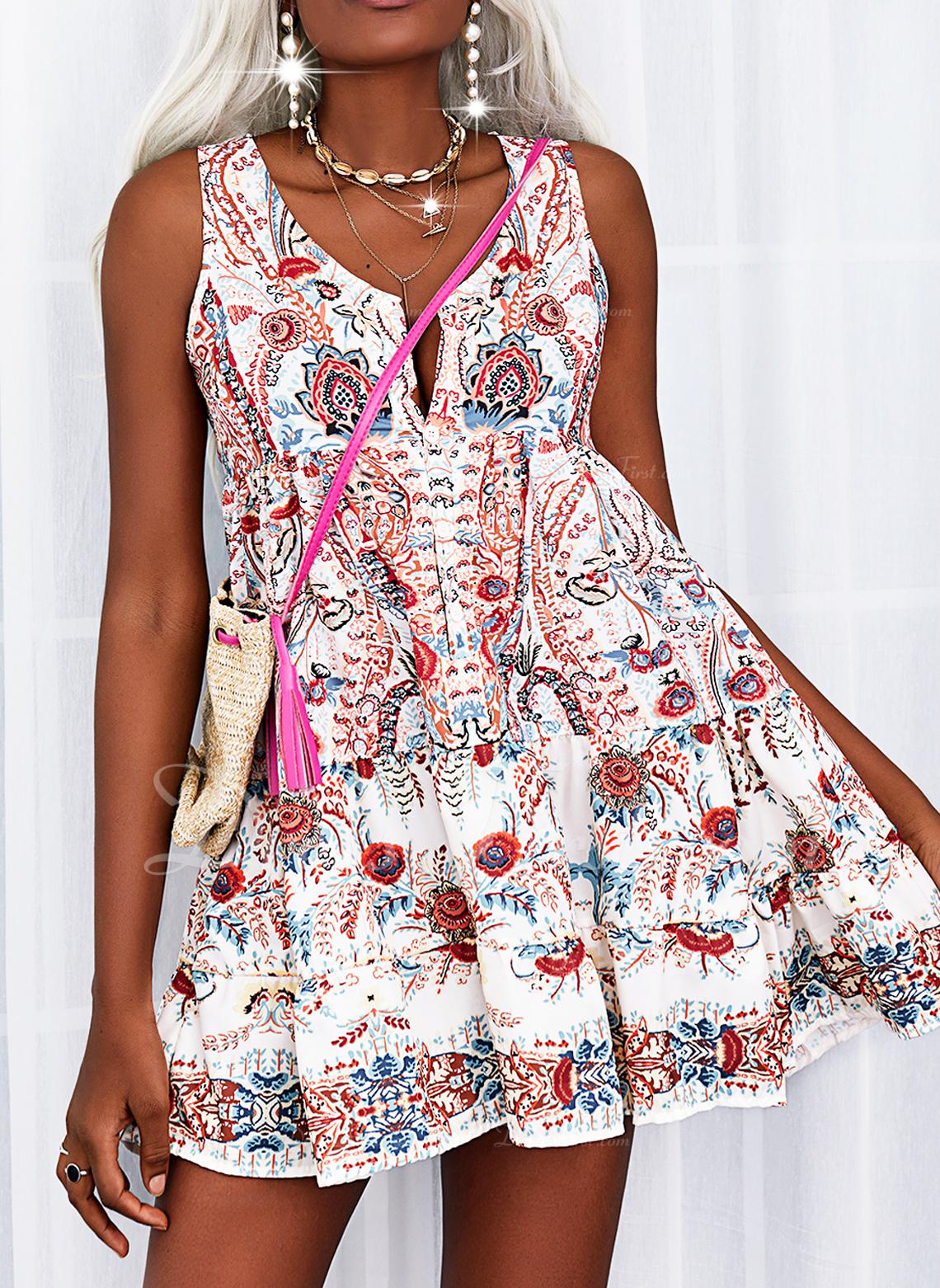 Floral Impresión Vestidos sueltos Sin mangas Midi Casual Vacaciones Tipo Vestidos de moda