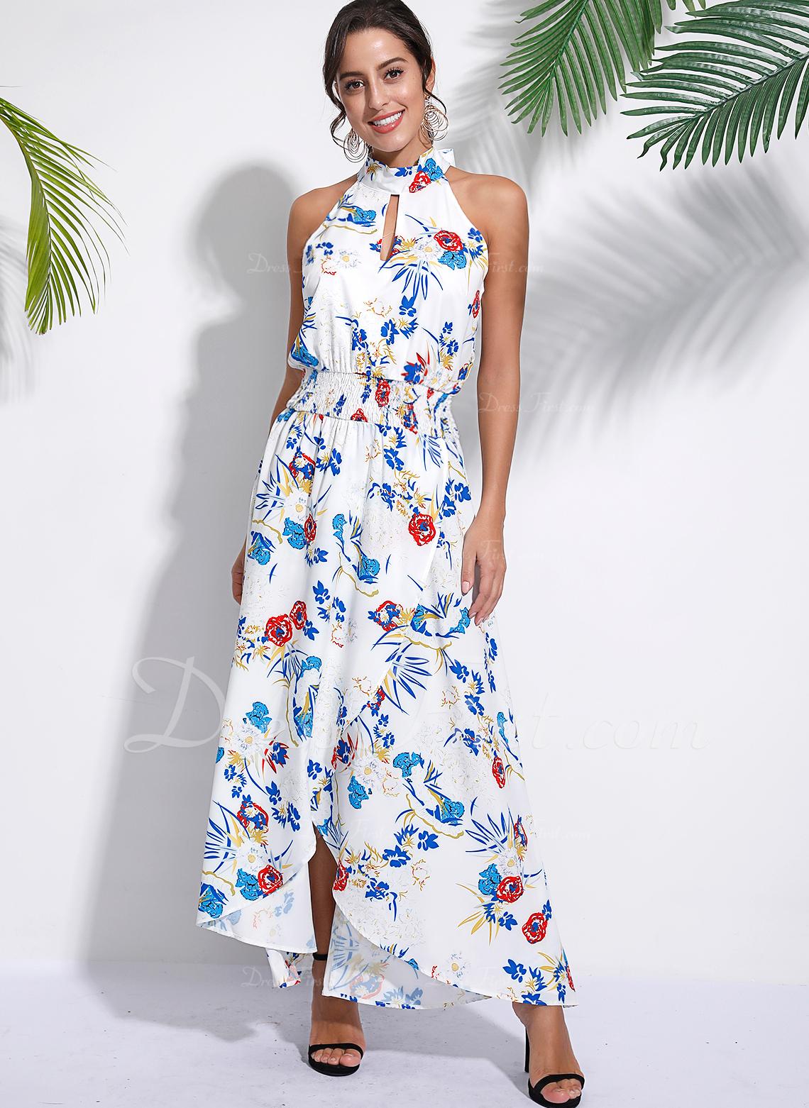 Floral Impresión Vestido línea A Sin mangas Asimétrico Casual Vacaciones Vestidos de moda