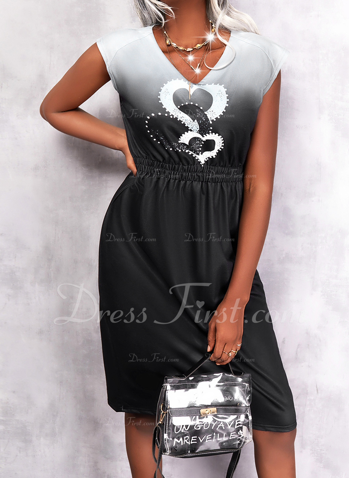 Print Heart Gradient Sheath Sleeveless Midi Casual Dresses