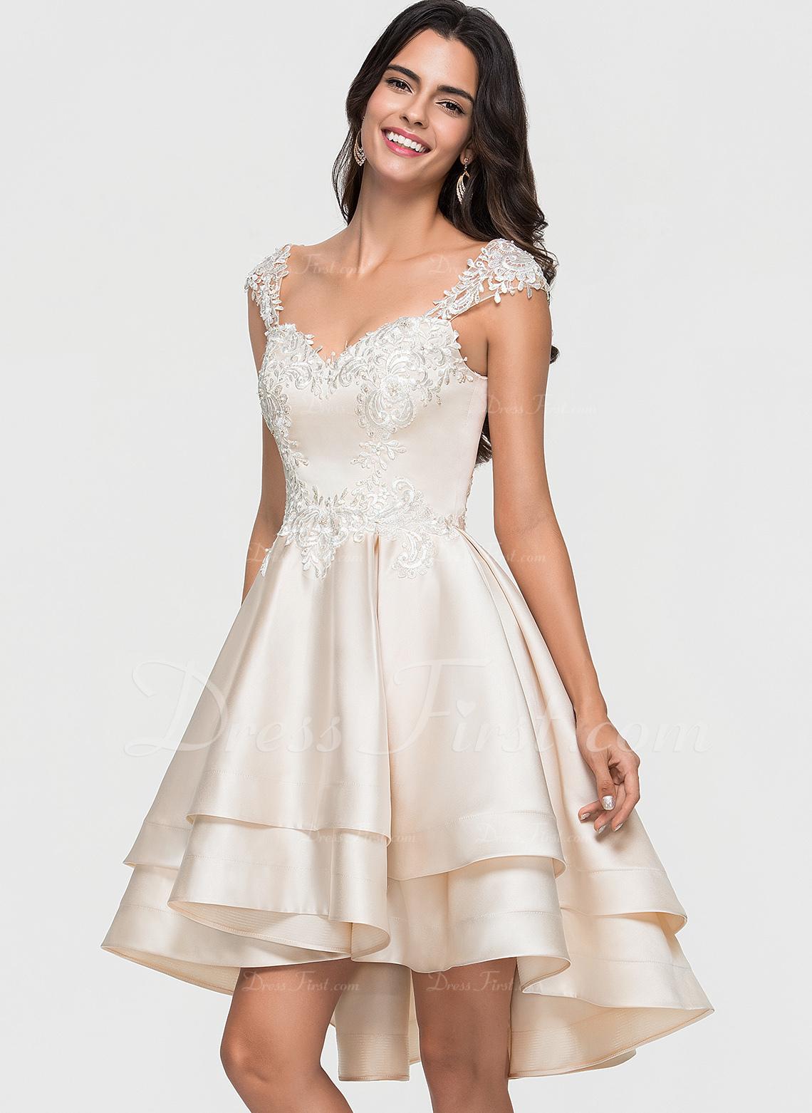 A-Line Sweetheart Asymmetrical Satin Homecoming Dress
