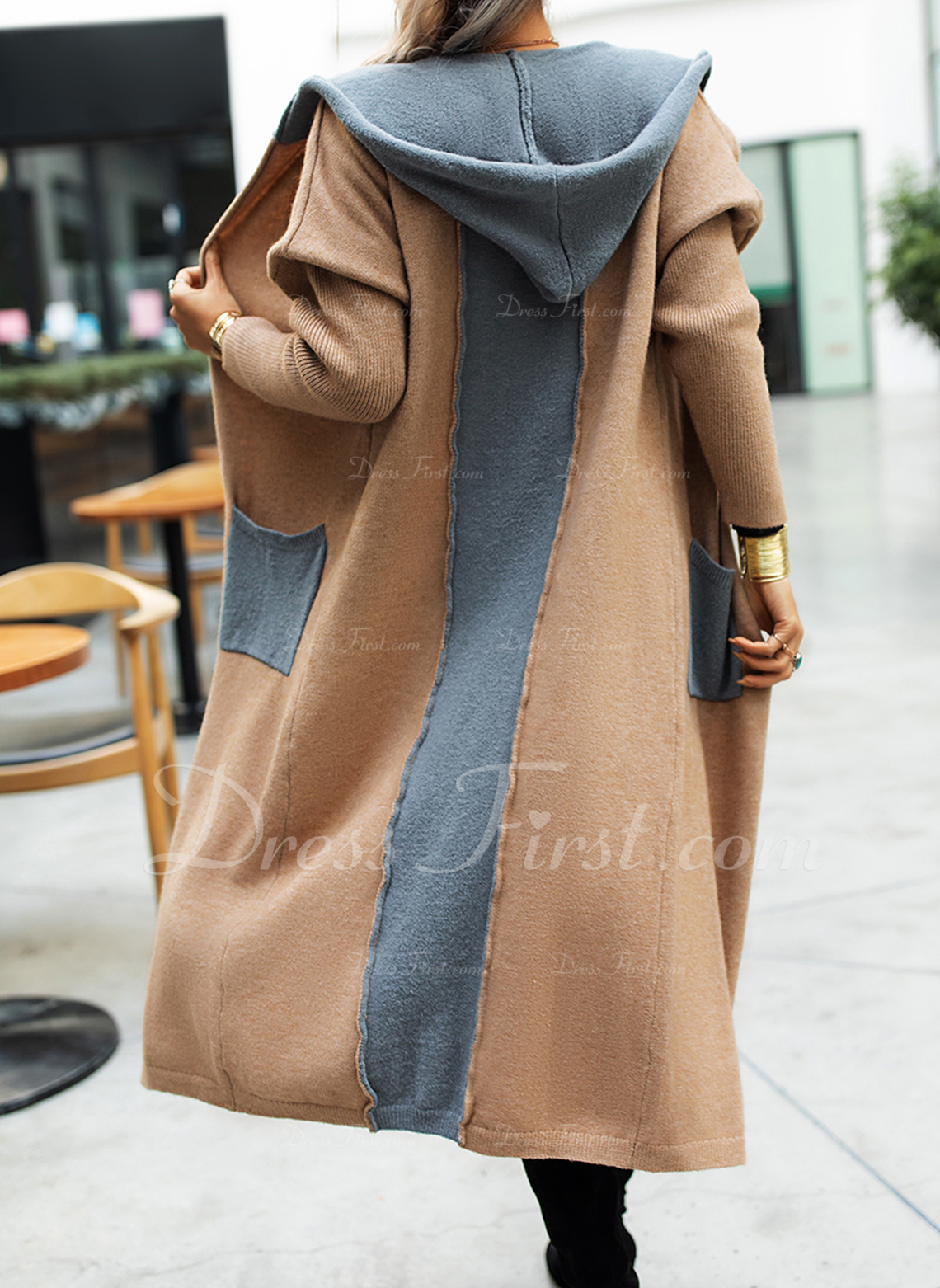 Hooded Fritids Lång Color Block Fickor Tröjor