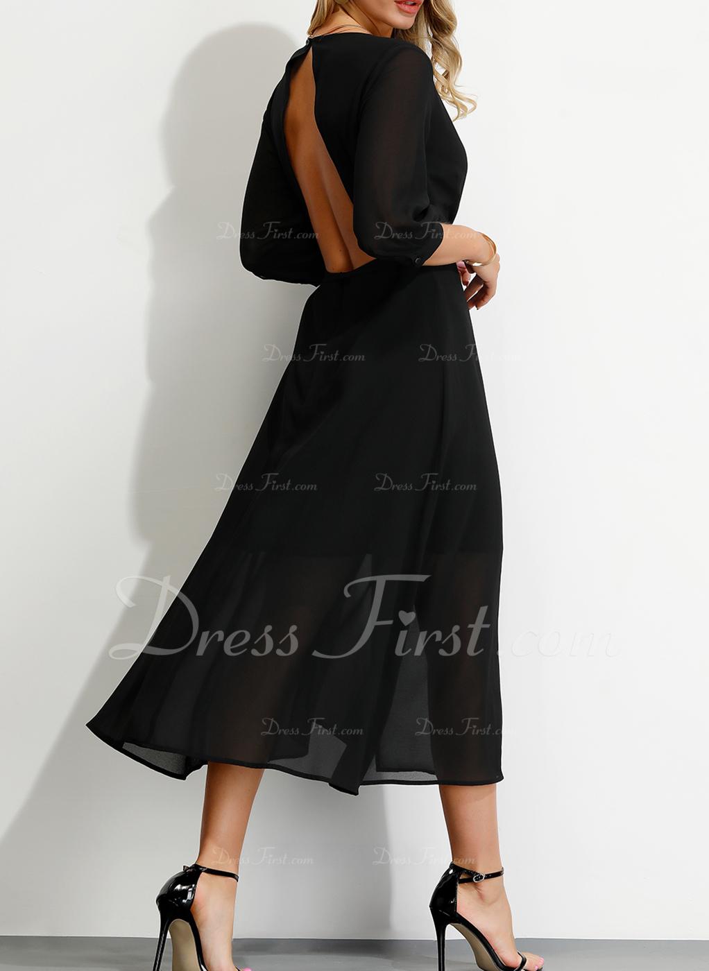 Poliester Z Jednolity Midi Sukienka