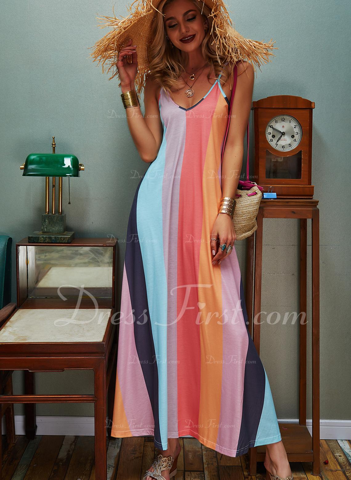 Tie Dye Vestido línea A Sin mangas Maxi Casual Vacaciones Tipo Vestidos de moda