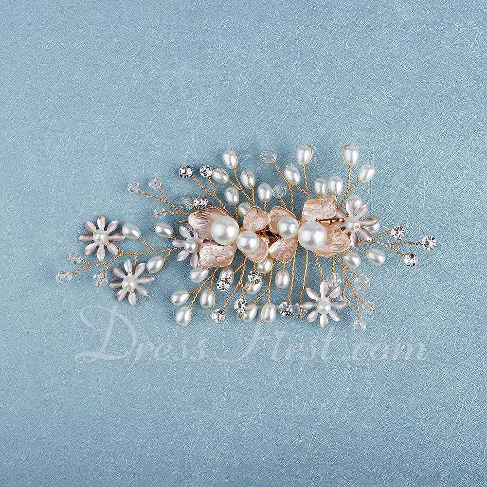 Vakkert Legering Kammer og Barrettes med Rhinestone/Venetianske Perle (Selges i ett stykke)