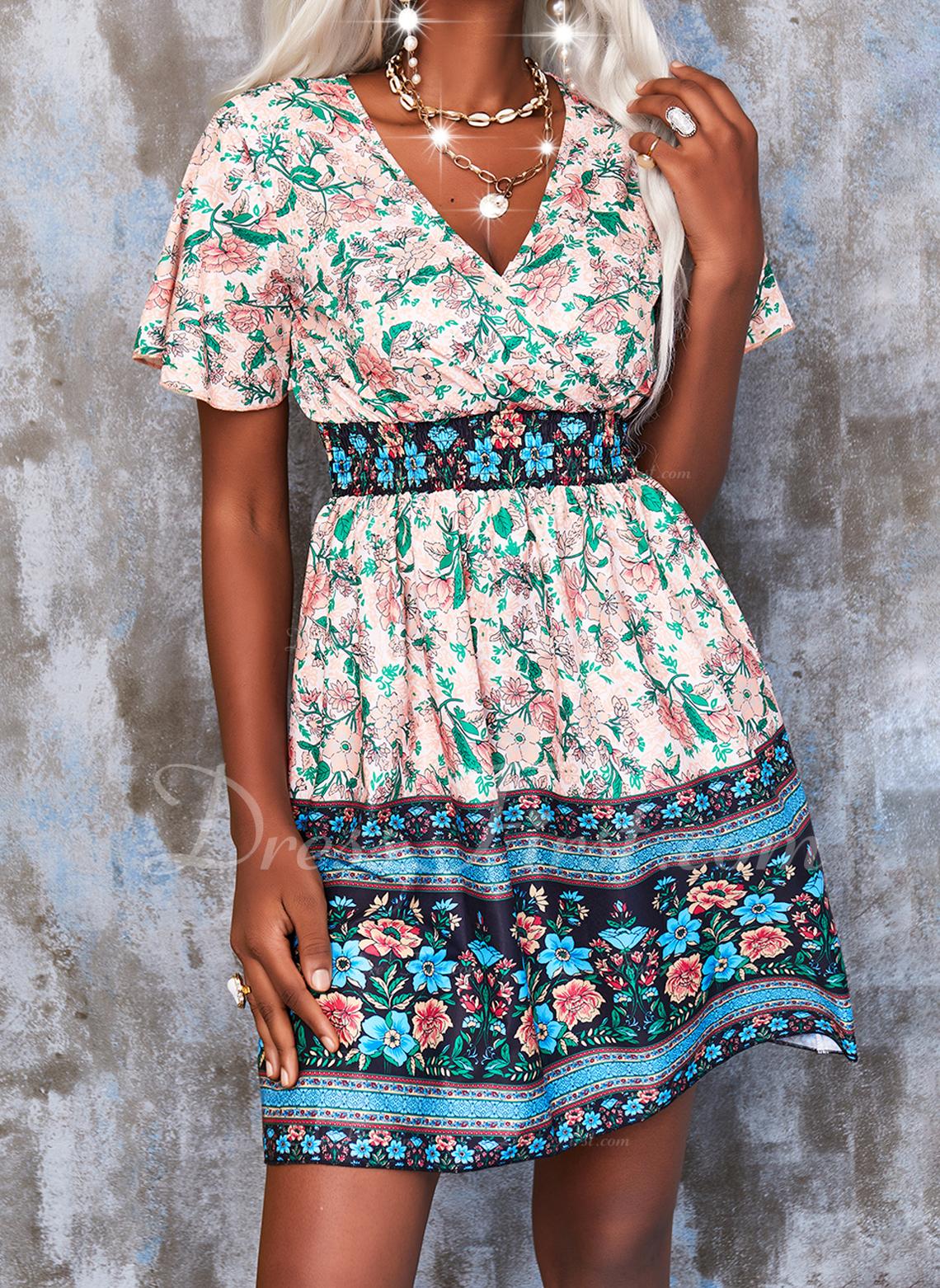 Floral Impresión Vestido línea A Manga Corta Mini Boho Vacaciones Patinador Vestidos de moda