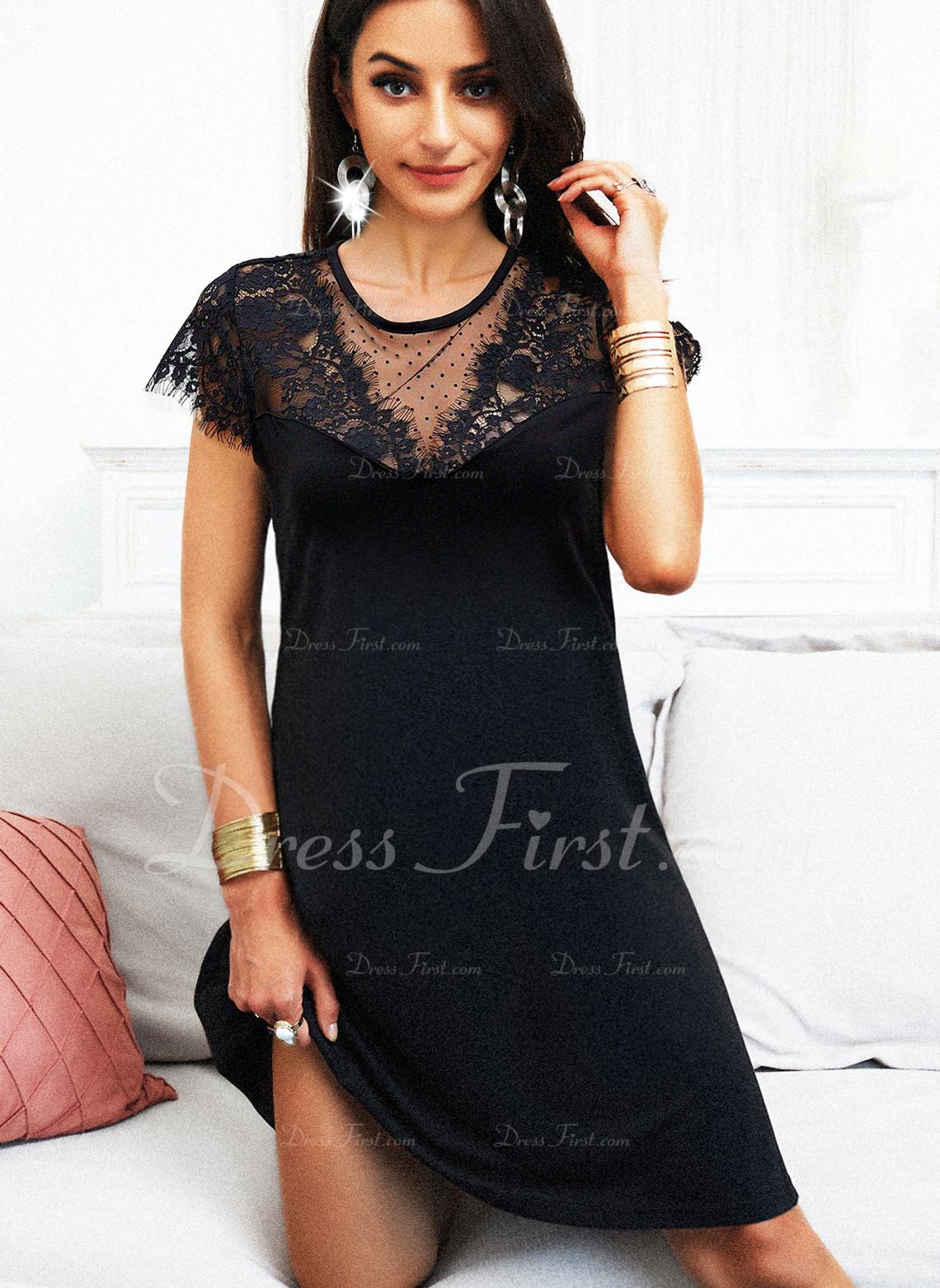 Solid Shift Short Sleeves Midi Little Black Casual Dresses