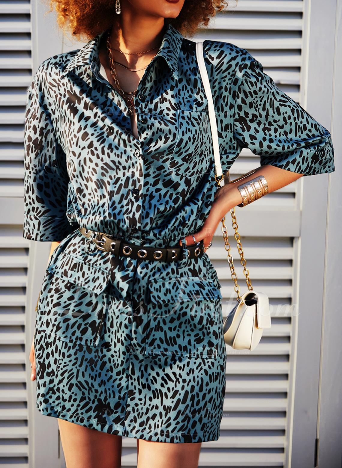 leopar Manşon Mâneci la Jumătate Mini gündelik Moda Elbiseler