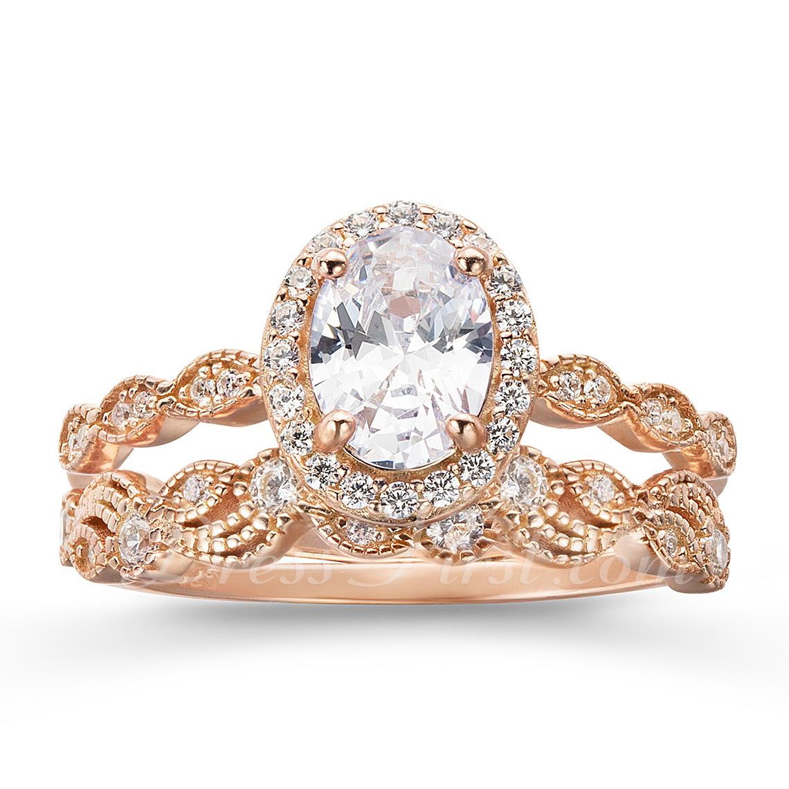 Sterling zilver Zirconia Halo Wijnoogst Ovale Snit Verlovings ringen Belofte ringen Bruids sets - Valentines Geschenken