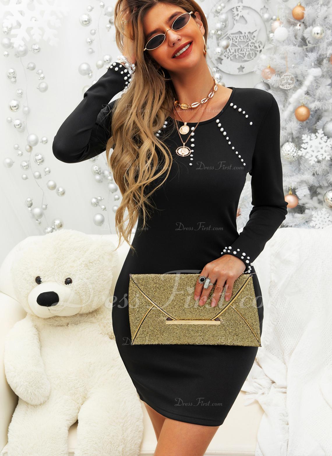 固体 シースドレス 長袖 ミニ カジュアル ファッションドレス