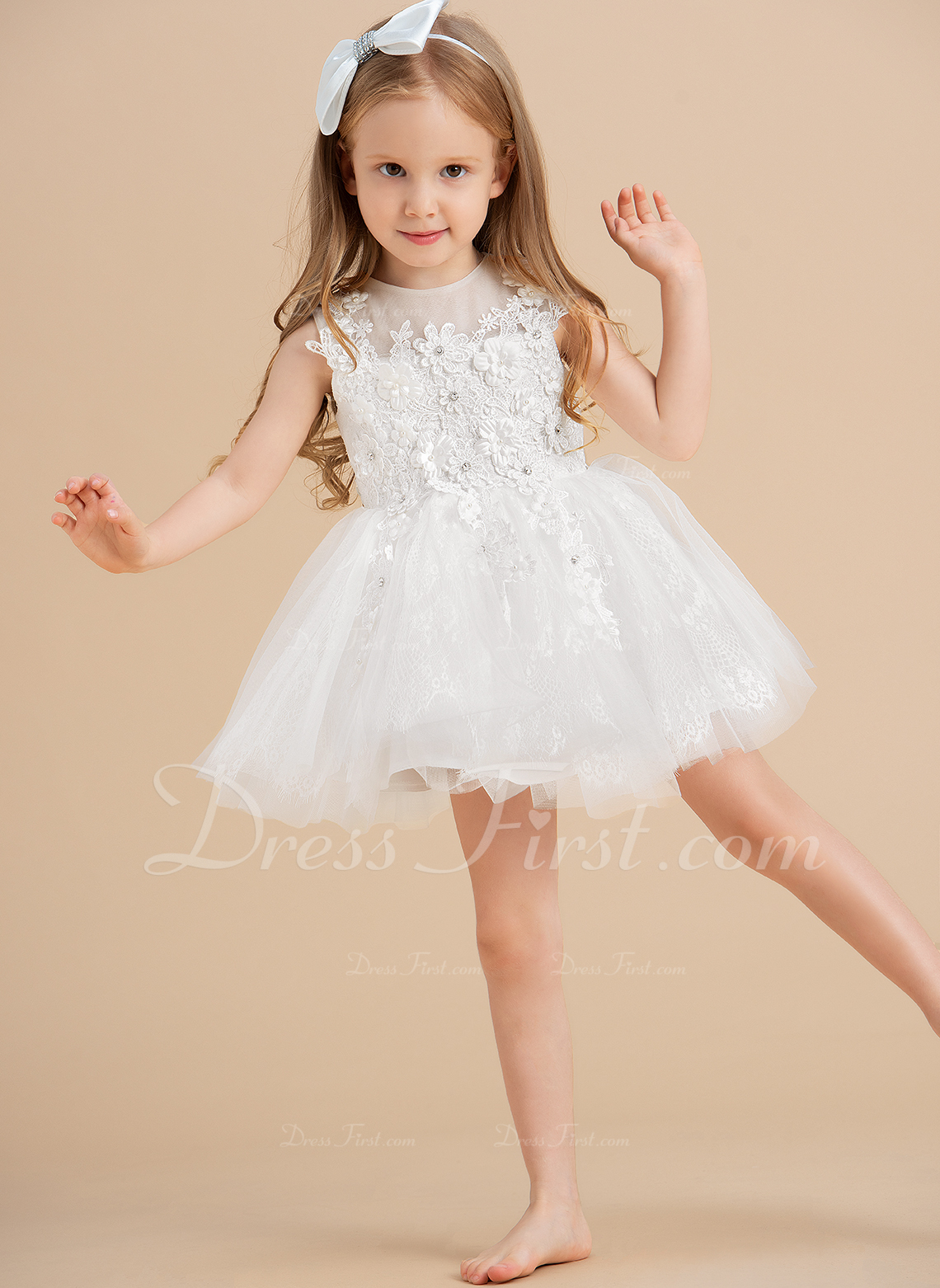 Ball-Gown/Princess Knee-length Flower Girl Dress - Tulle Sleeveless Scoop Neck With Beading/Appliques