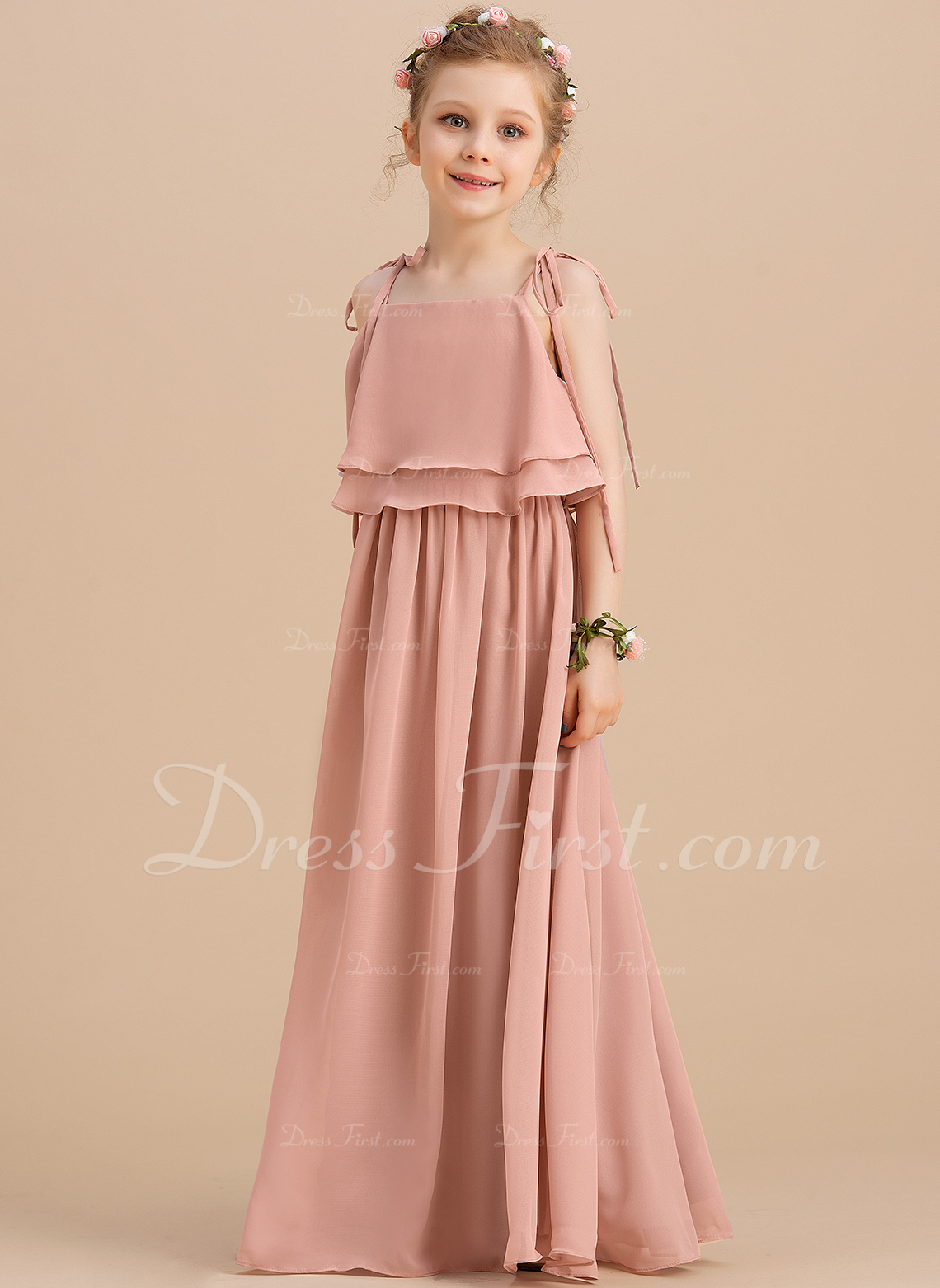 A-Line/Princess Floor-length Flower Girl Dress - Chiffon Sleeveless Square Neckline/Straps With Ruffles