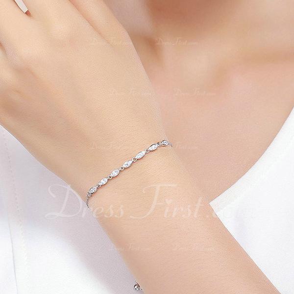 Platino Plateado Cadena delicada Bracelets De Mariée Bracelets Bolo - Regalos De San Valentín Para Ella