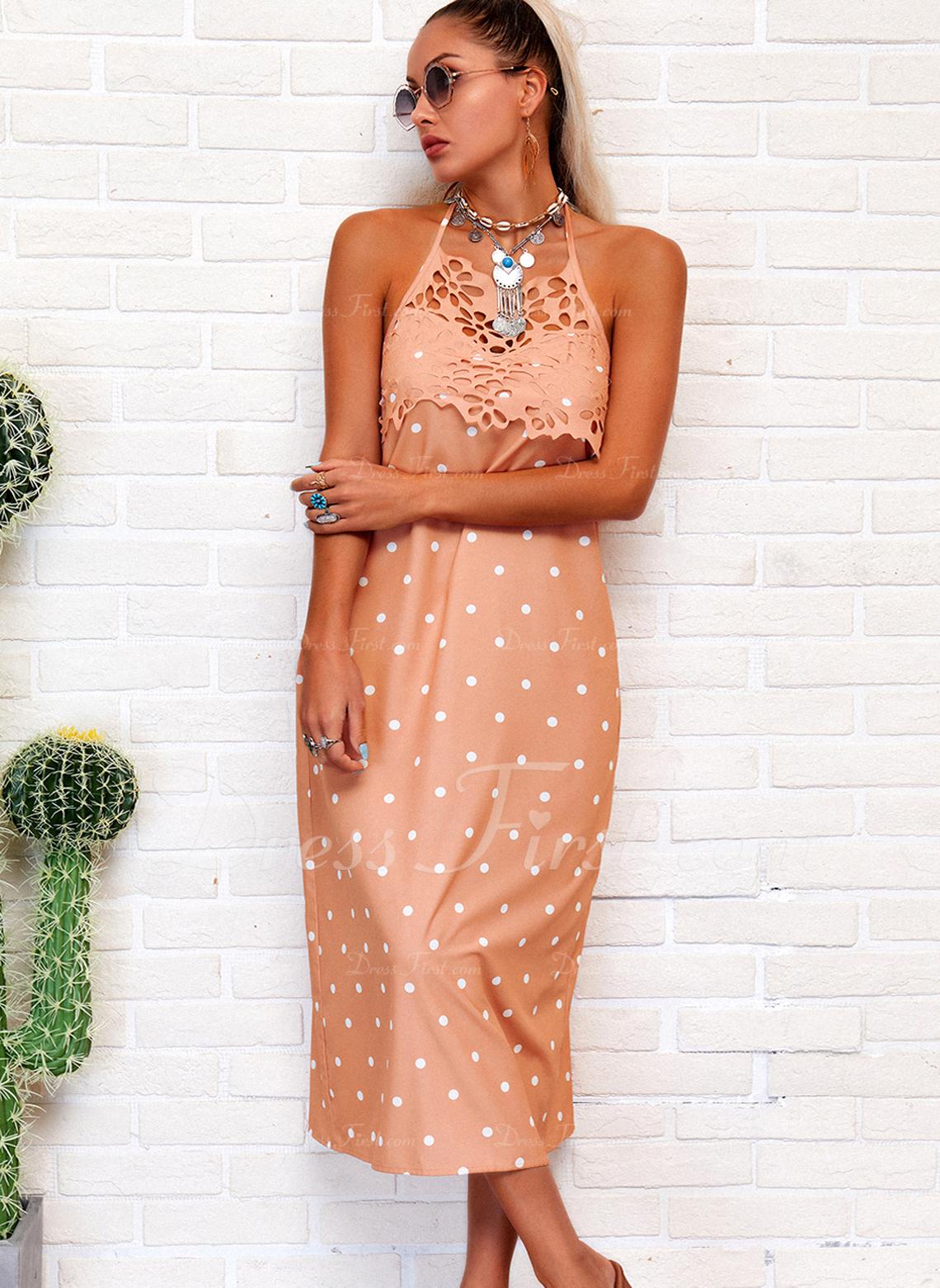 Lace PolkaDot Backless Shift Sleeveless Midi Casual Dresses