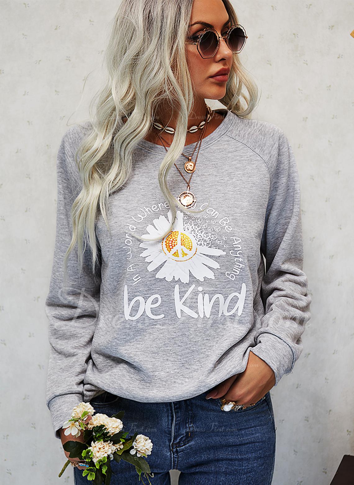 Blomster Print Figur Rund hals Lange ærmer Sweatshirts