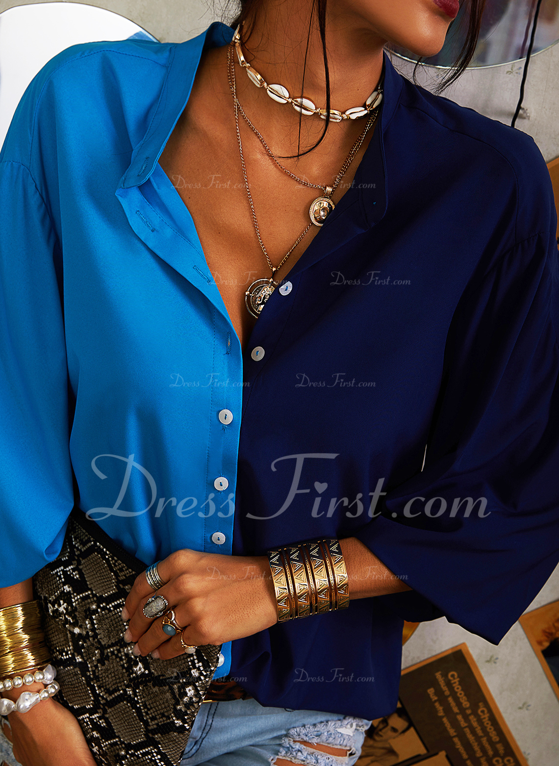 Color Block V-Neck 3/4 Sleeves Button Up Casual Shirt Blouses