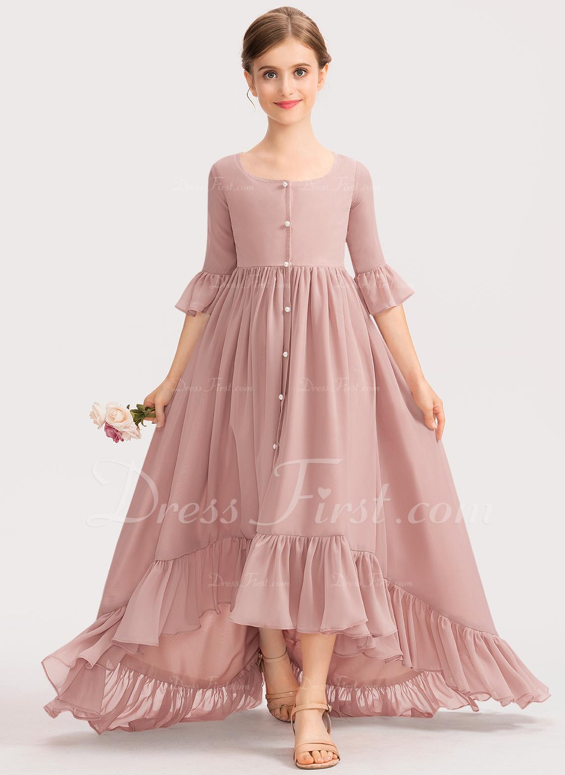 Aライン スクープネック 非対称 シフォン ジュニアブライドメイドドレス とともに 弓 カスケードフリル
