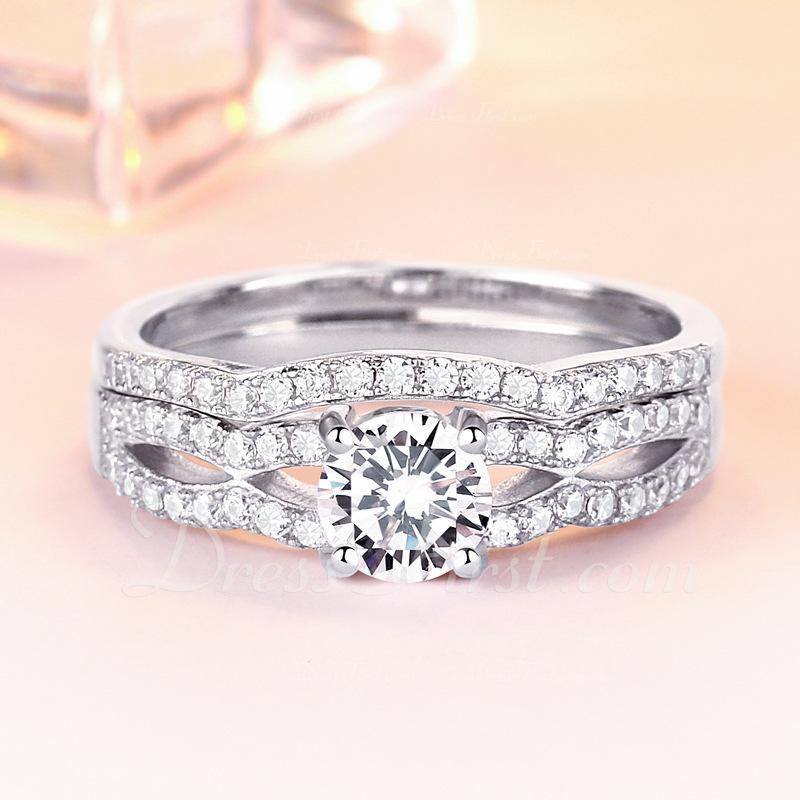 Sterling zilver Zirconia Sierlijk Ronde Snede Verlovings ringen Bruids sets