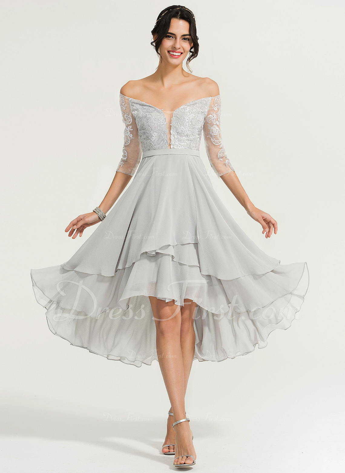 0e7bff5cf8f8 Princesový Off-the-rameno Asymetrické Šifón Koktejlové šaty S ...