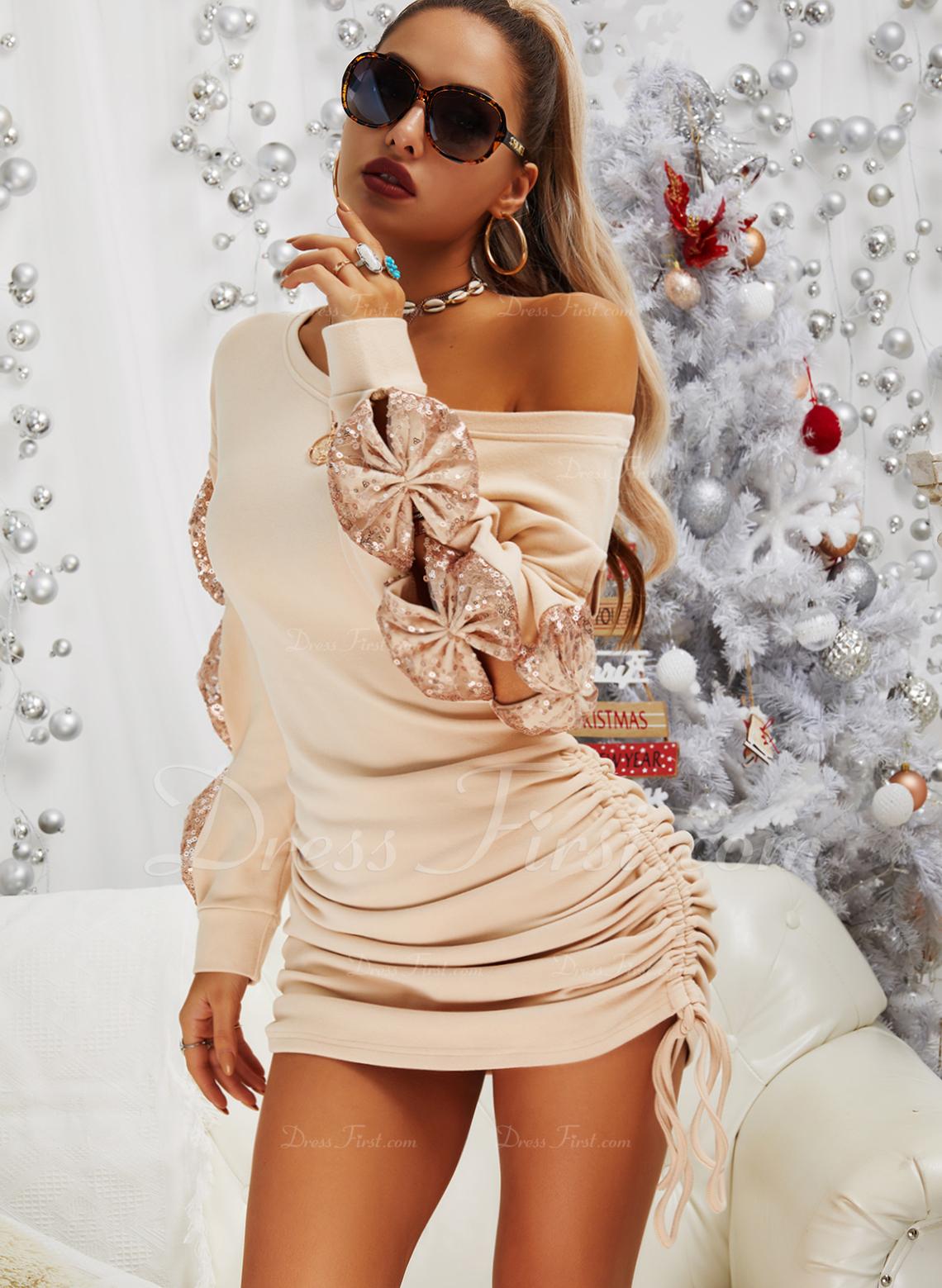 pailletter Solid Bodycon Lange ærmer Mini Casual Mode kjoler