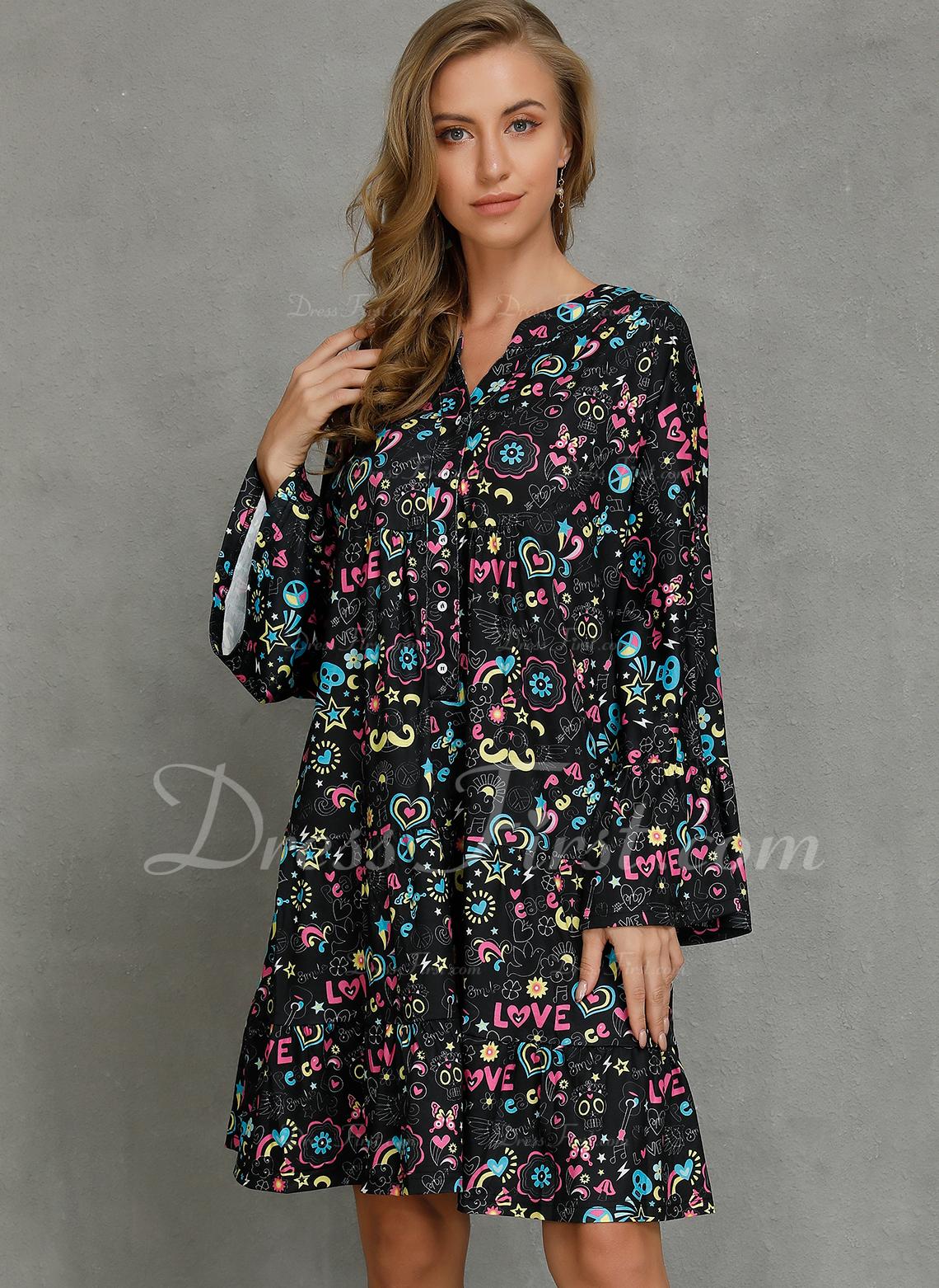 Floral Imprimeu Shift Elbiseleri Mânecă Evazate Mâneci Lungi Midi gündelik Tunică Moda Elbiseler