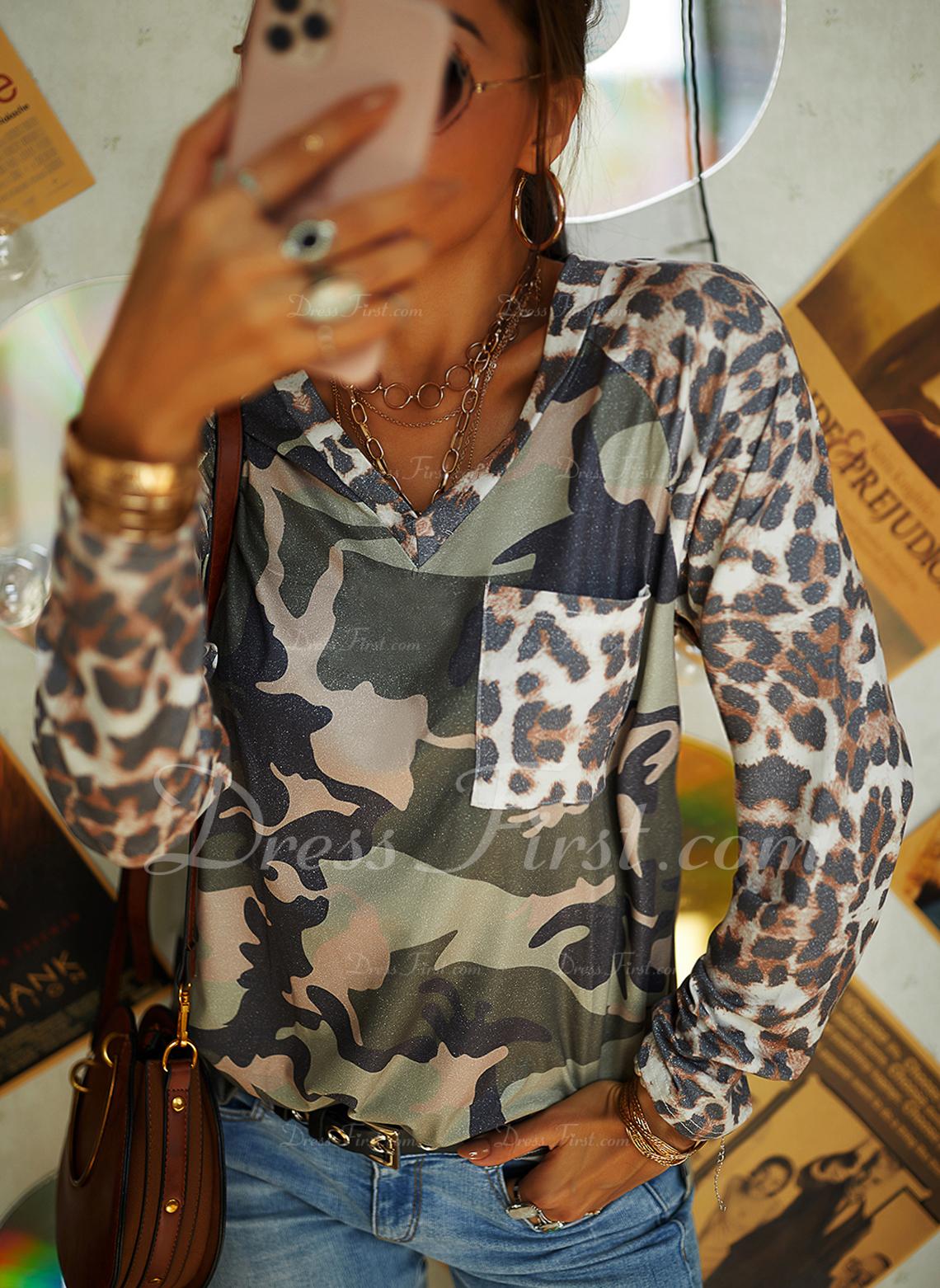 Leopard V-ringning Långa ärmar Fritids t-shirt