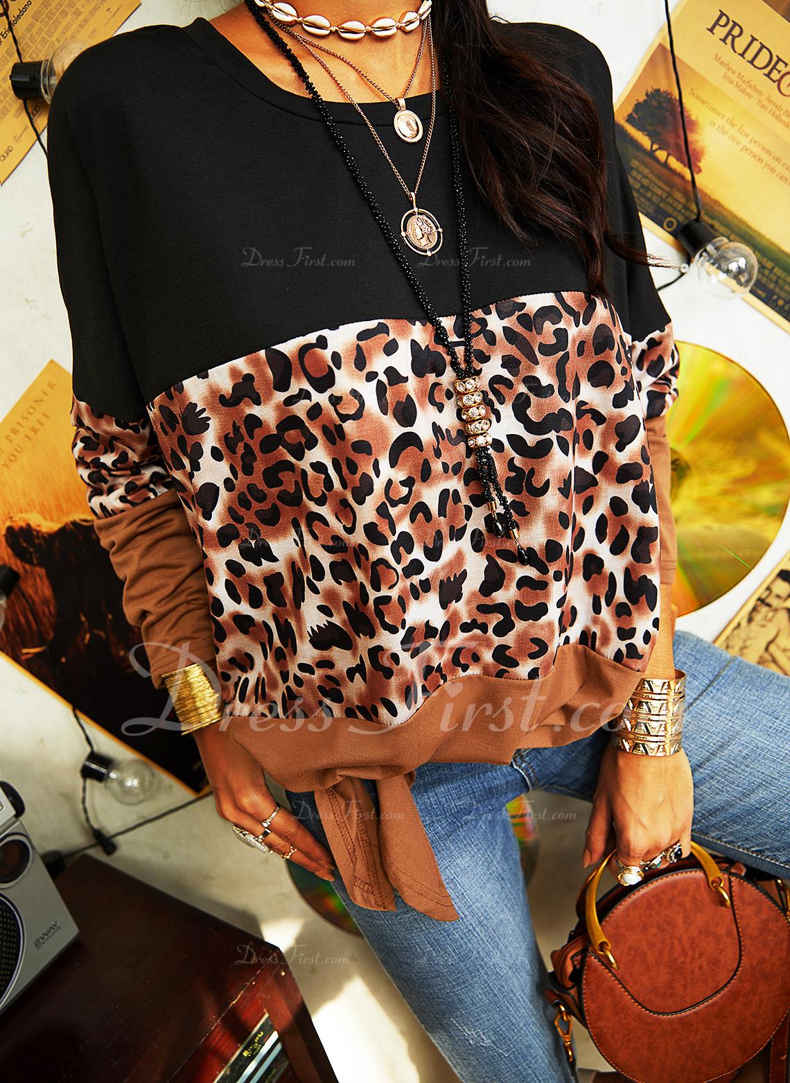 Leopard Farbblock Rundhalsausschnitt Lange Ärmel Lässige Kleidung Blusen