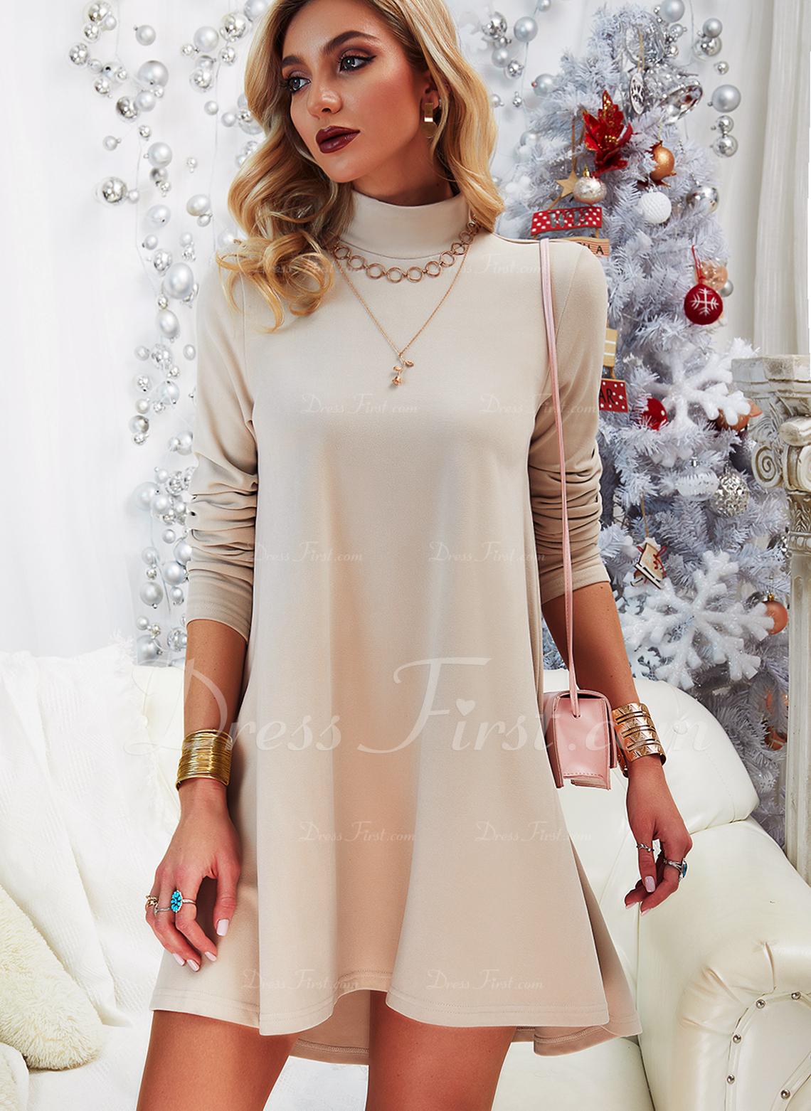 固体 シフトドレス 長袖 ミニ カジュアル チュニック ファッションドレス