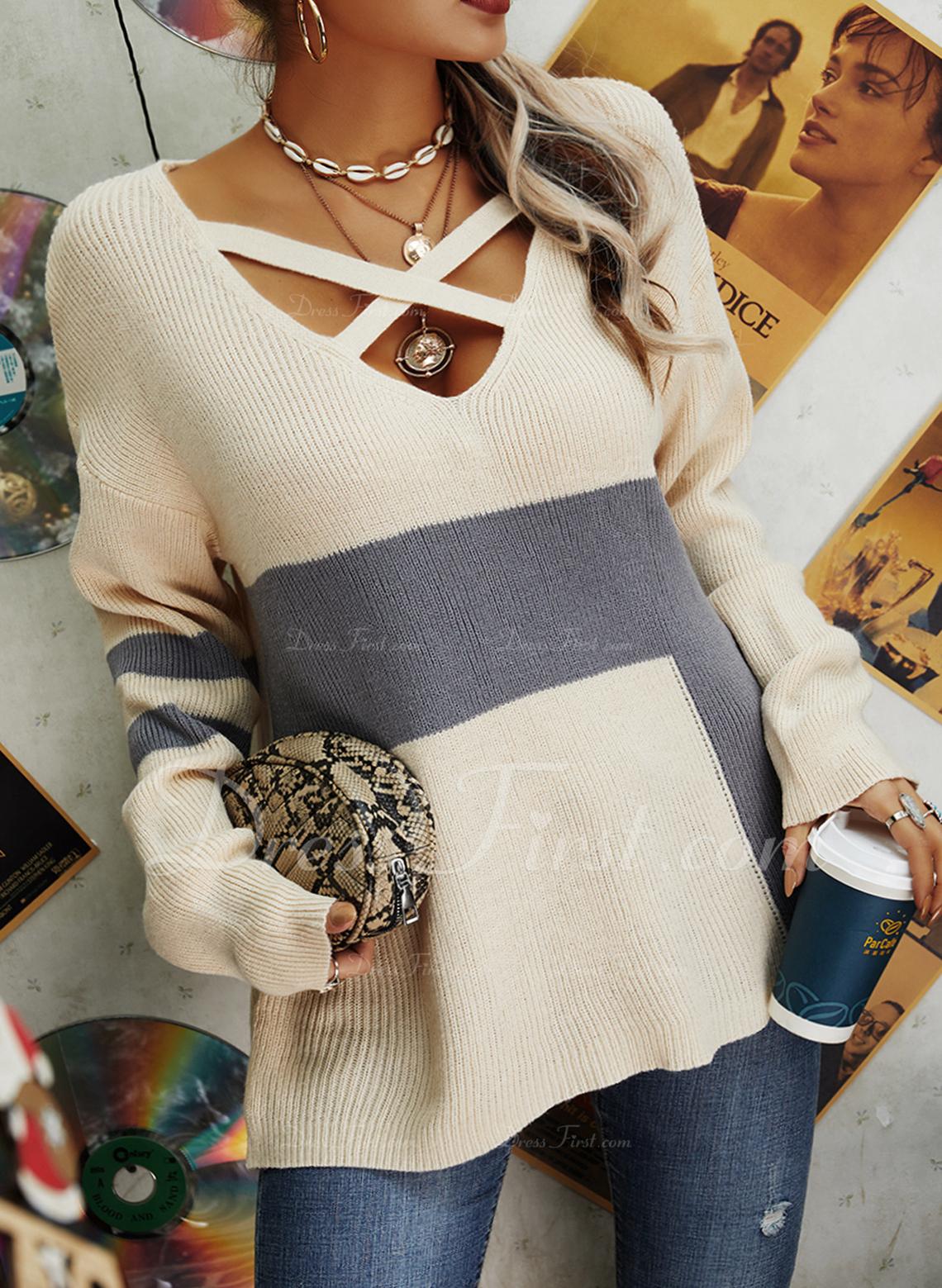 V-Ausschnitt Lässige Kleidung Farbblock Pullover