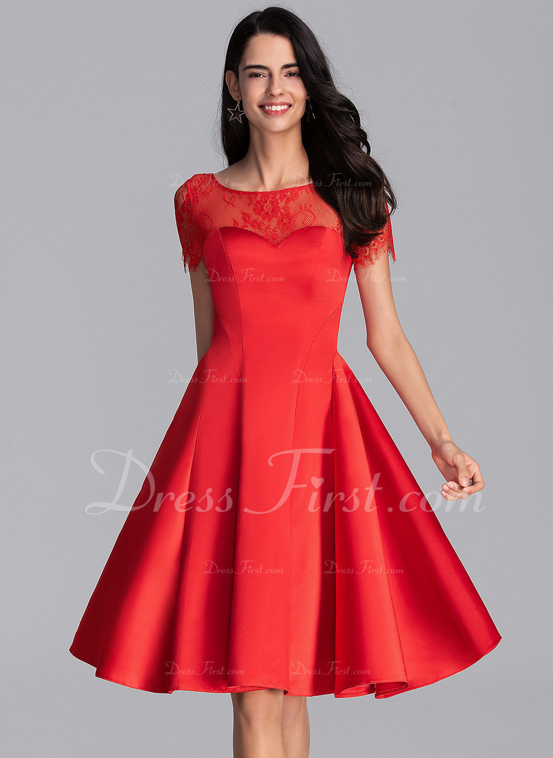 A-Line Scoop Neck Knee-Length Satin Homecoming Dress