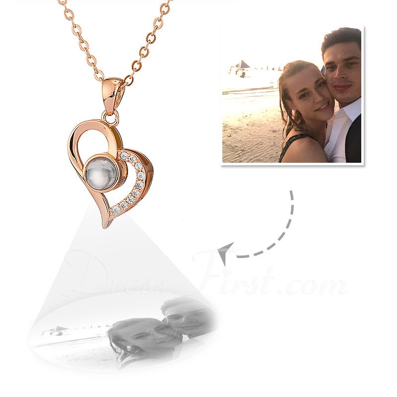 Personalizado Plata Esterlina Corazón Proyección Collar De La Foto con Cubic zirconia - Regalos Del Día De La Madre