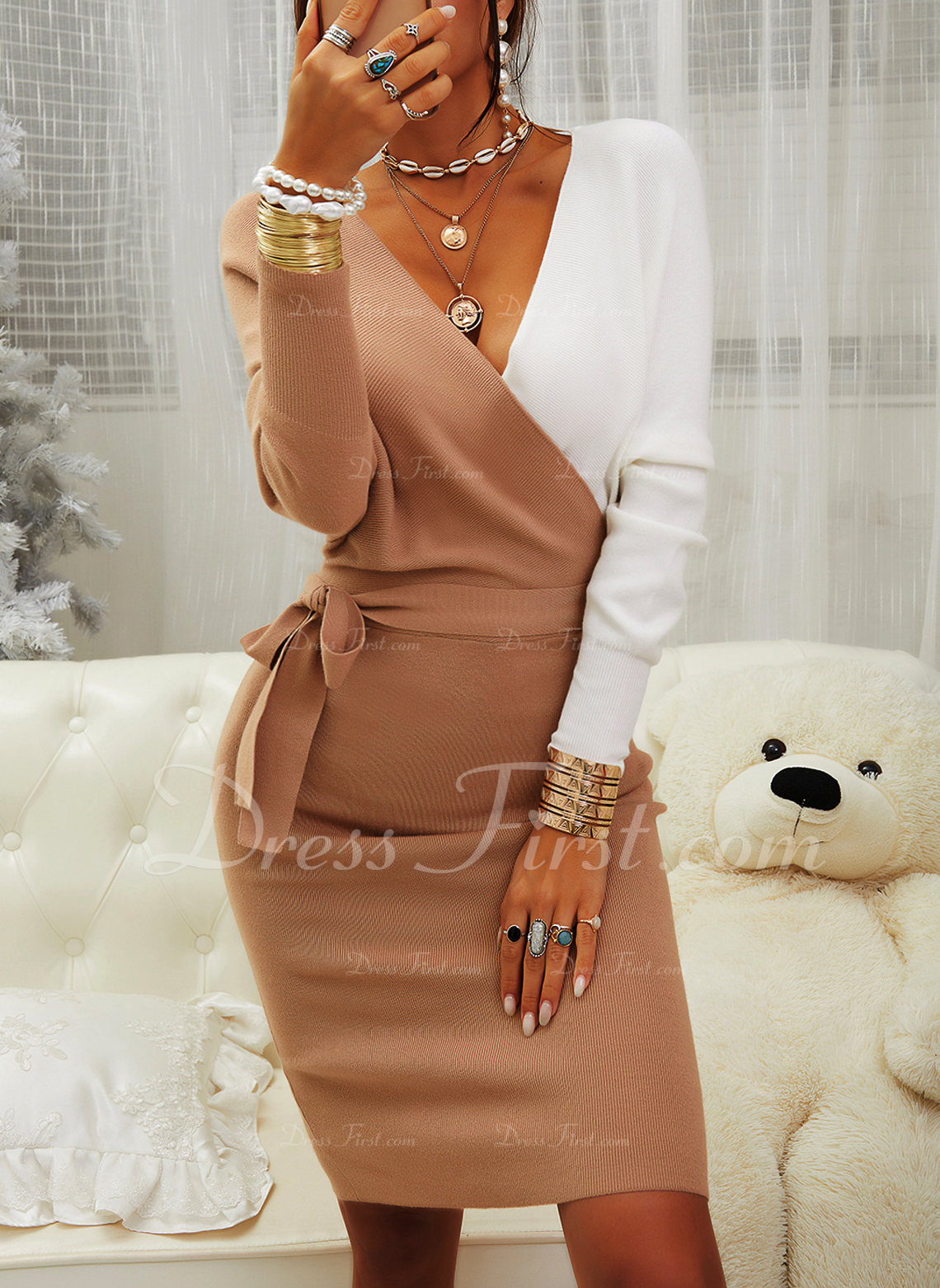 V-Neck Casual Long Tight Color Block Chunky knit Sweaters