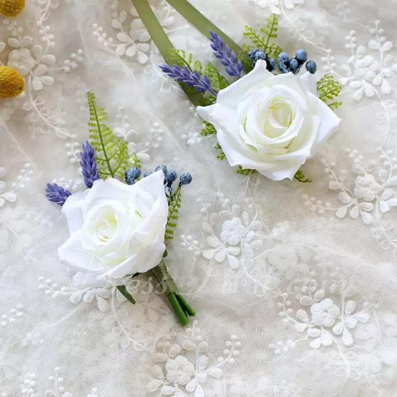 ハンドタイド Flower Decoration フラワーセット (2本セット) - 手首のコサージュ/ブートニエール
