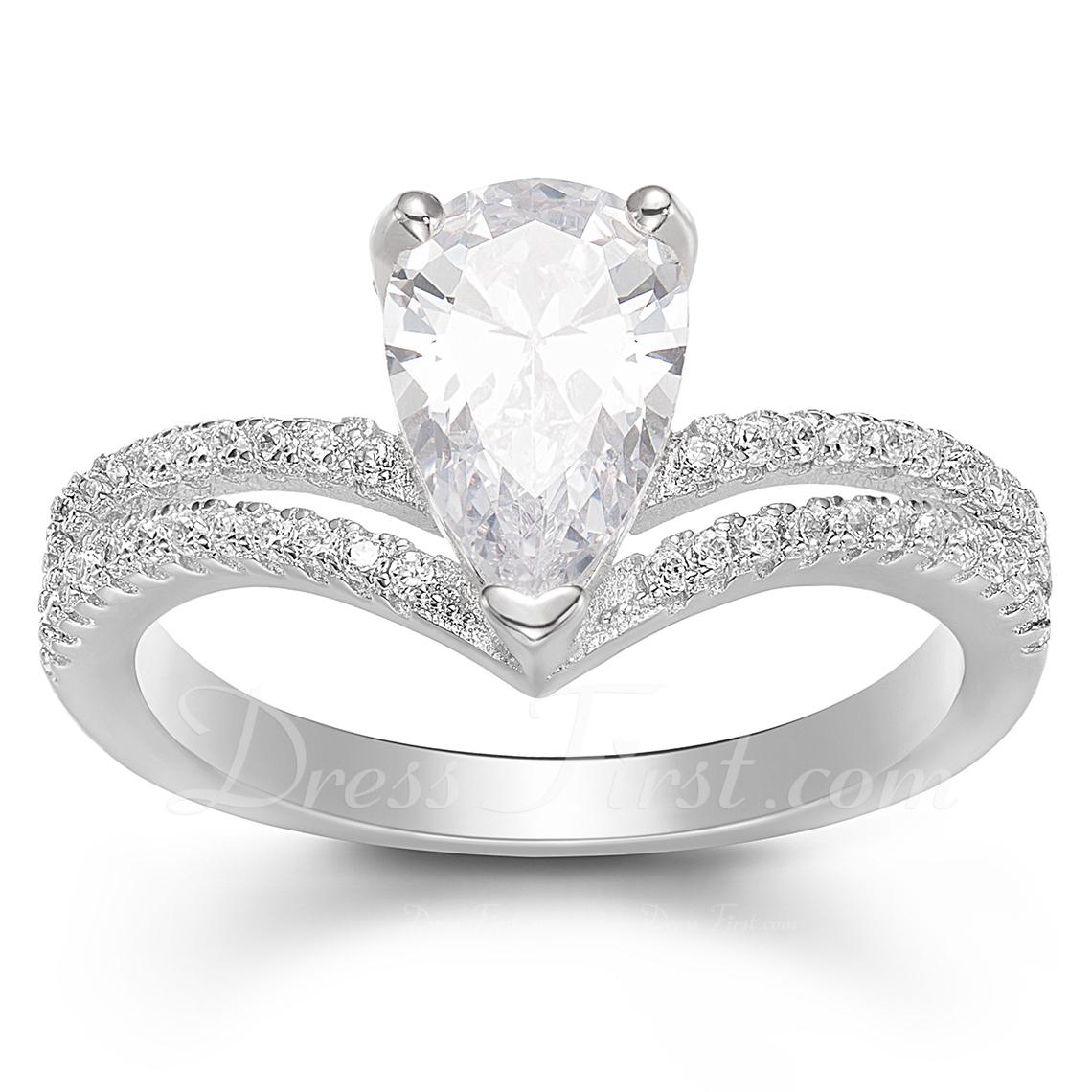 Plata esterlina Zirconia cúbica aureola En Forma De V Corte De Pera Anillos de promesa Conjuntos de novia -
