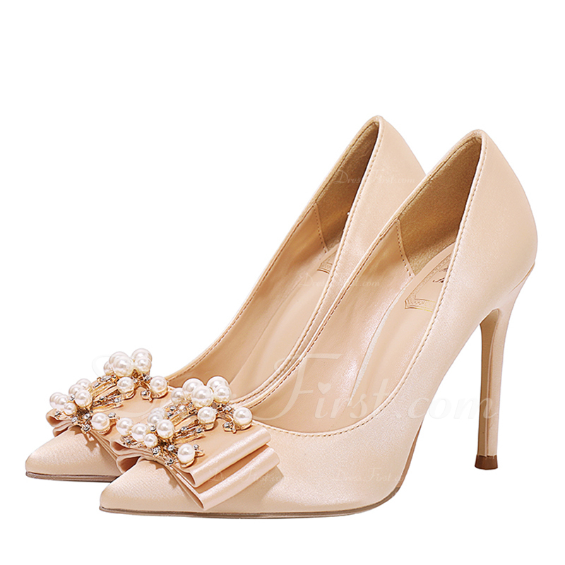 c65fc7ae2543 Loading zoom. Loading. Color  Champagne. Women s Satin Stiletto Heel Closed  Toe Pumps With Bowknot Crystal ...