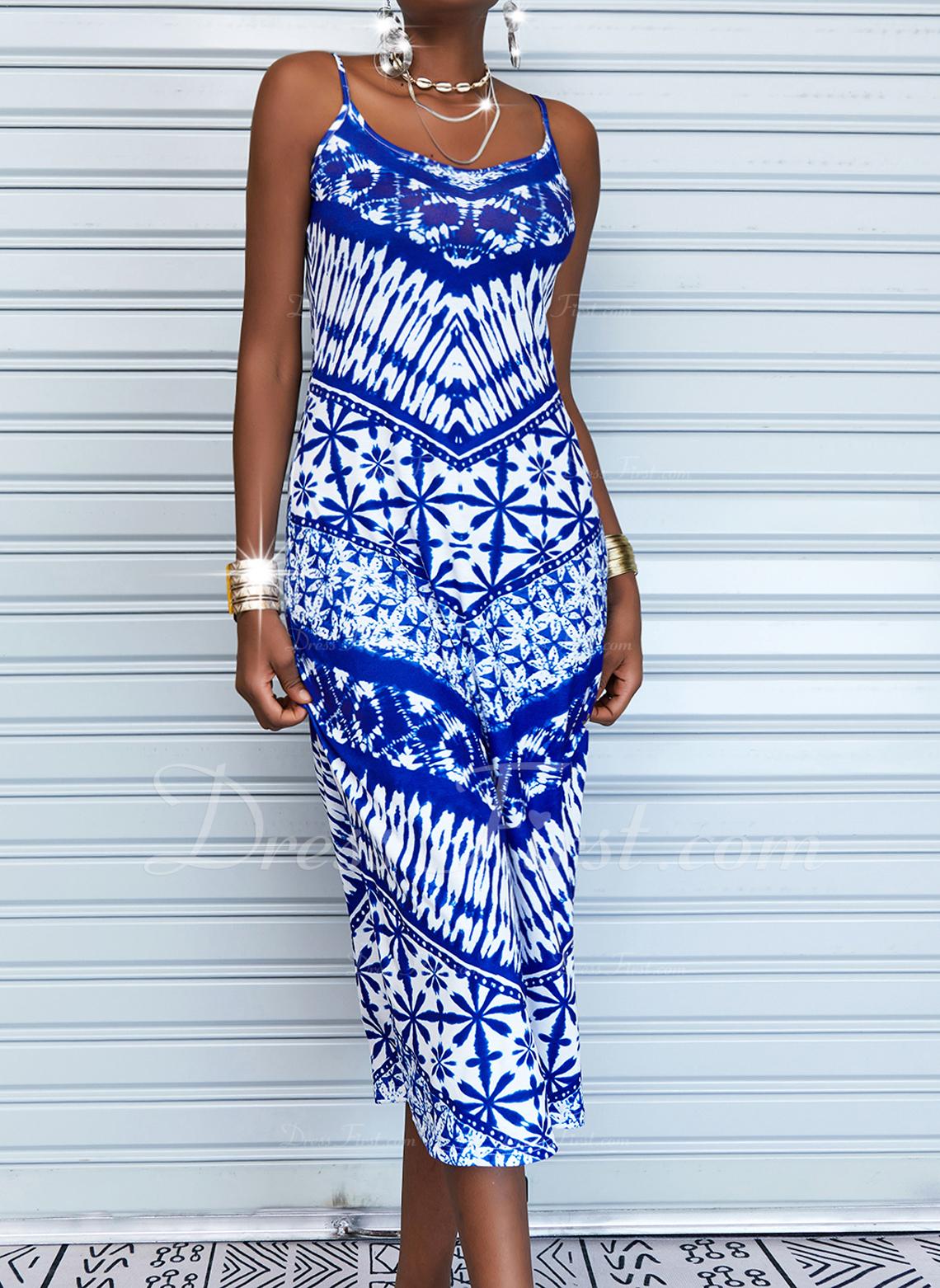 Print Backless Sheath Sleeveless Maxi Casual Vacation Type Dresses