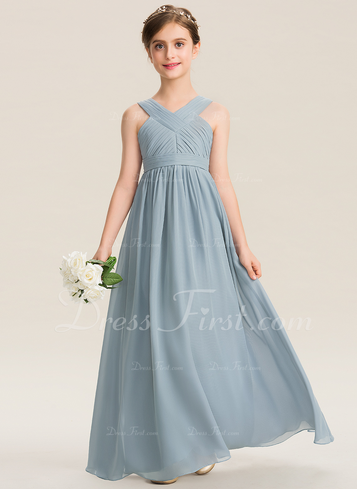 a4e4f36da0fb Loading zoom. Loading. Color: Steel Blue. A-Line V-neck Floor-Length  Chiffon Junior Bridesmaid Dress With Ruffle (009165011)